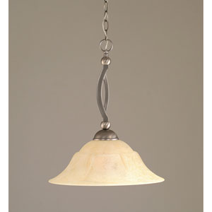 Brushed Nickel Downlight One-Light Bow Pendant with 16-Inch Italian Marble Glass