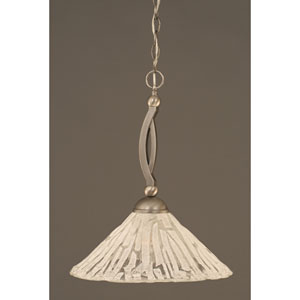 Bow Brushed Nickel Pendant with Italian Ice Glass