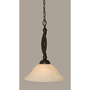 Bow Dark Granite Pendant with 12-Inch Amber Marble Glass