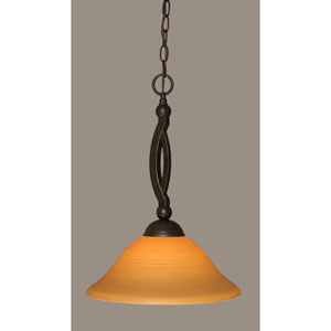 Bow Dark Granite Pendant with 16-Inch Cayenne Linen Glass
