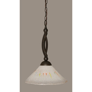 Bow Dark Granite Pendant with 12-Inch Frosted Crystal Glass