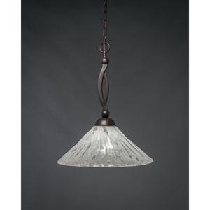 Bow Dark Granite Pendant with 16-Inch Italian Ice Glass