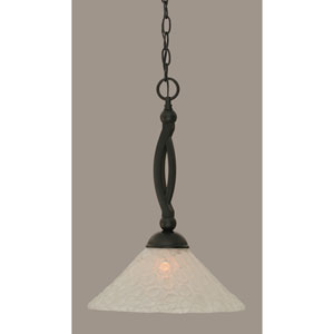 Bow Matte Black 12-Inch One Light Pendant with Italian Bubble Glass