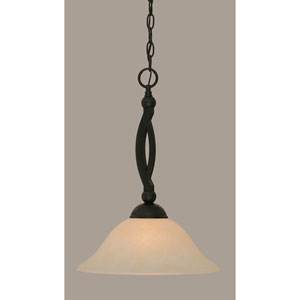 Bow Matte Black 12-Inch One Light Pendant with Amber Marble Glass