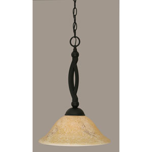 Bow Matte Black 12-Inch One Light Pendant with Italian Marble Glass