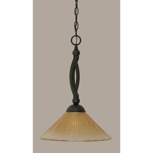 Bow Matte Black 12-Inch One Light Pendant with Amber Crystal Glass