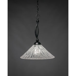 Bow Matte Black 16-Inch One Light Pendant with Italian Ice Glass