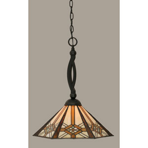 Bow Matte Black 16-Inch One Light Pendant with Hampton Tiffany Glass