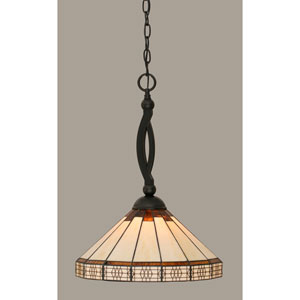 Bow Matte Black 15-Inch One Light Pendant with Honey/Brown Mission Tiffany Glass