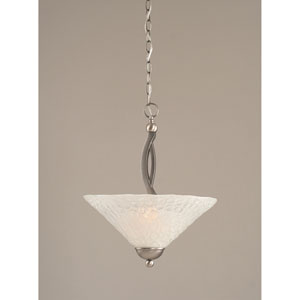 Bow Brushed Nickel Two-Light Pendant with 16-Inch Italian Bubble Glass Shade