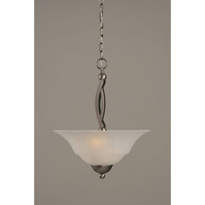 Bow Brushed Nickel Two-Light Pendant with 16-Inch White Marble Glass Shade