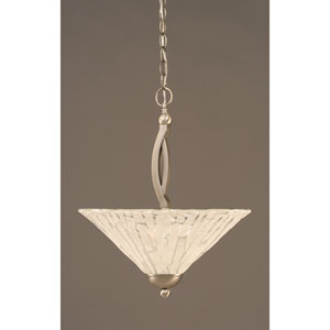 Bow Brushed Nickel Finish Pendant with Italian Ice Glass