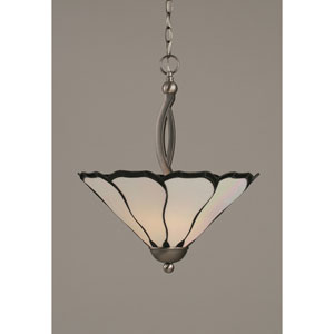 Bow Brushed Nickel Two-Light Pendant with 16-Inch Pearl Flair Tiffany Glass