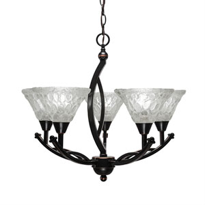 Bow Black Copper Five-Light 20-Inch Chandelier with 7-Inch Italian Bubble