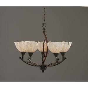 Bow Black Copper Five-Light Chandelier with 7-Inch Gold Ice Glass Shade