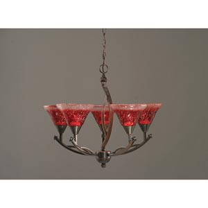 Bow Black Copper Five-Light Chandelier with 7-Inch Raspberry Crystal Glass Shade