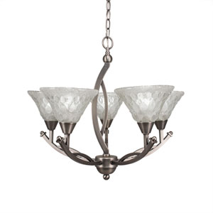 Bow Brushed Nickel Five-Light 23.5-Inch Chandelier with 7-Inch Italian Bubble Glass