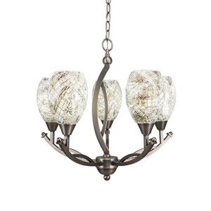 Bow Brushed Nickel Five-Light 20-Inch Chandelier with 5-Inch Natural Fusion Glass