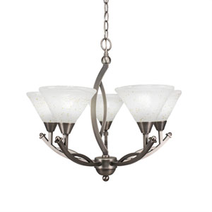 Bow Brushed Nickel Five-Light 23.5-Inch Chandelier with 7-Inch Gold Ice Glass
