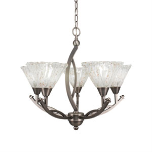 Bow Brushed Nickel Five-Light 23.5-Inch Chandelier with 7-Inch Italian Ice Glass