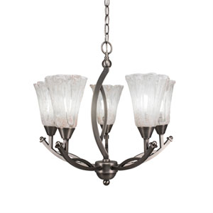 Bow Brushed Nickel Five-Light 20-Inch Chandelier with 5.5-Inch Fluted Italian Ice Glass
