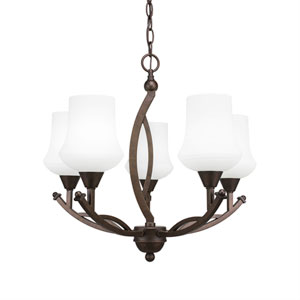 Bow Bronze Five-Light 21-Inch Chandelier with 5.5-Inch Zilo White Linen Glass