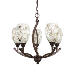 Bow Bronze Five-Light 20-Inch Chandelier with 5-Inch Natural Fusion Glass
