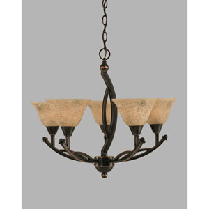 Bow Black Copper Five-Light Chandelier with 7-Inch Italian Marble Glass Shade