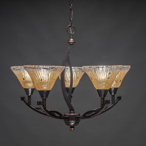 Bow Black Copper Five-Light Chandelier with Amber Crystal Glass