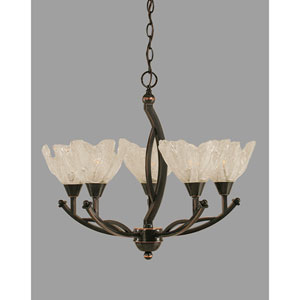 Bow Black Copper Five-Light Chandelier with Italian Ice Glass