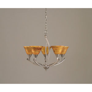 Bow Brushed Nickel Five-Light Chandelier with 7-Inch Firre Saturn Glass Shade