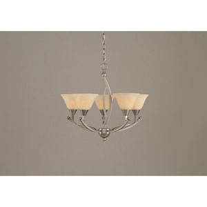 Bow Brushed Nickel Five-Light Chandelier with 7-Inch Amber Marble Glass Shade