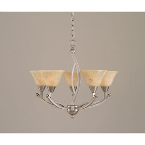 Bow Brushed Nickel Five-Light Chandelier with 7-Inch Italian Marble Glass Shade