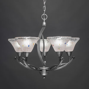Bow Brushed Nickel Five-Light Chandelier with 7-Inch Frosted Crystal Glass Shade