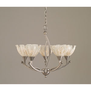 Bow Brushed Nickel Five-Light Chandelier with 7-Inch Gold Ice Glass Shade