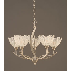 Bow Brushed Nickel Five-Light Chandelier with Italian Ice Glass