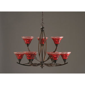 Bow Black Copper Nine-Light Chandelier with Raspberry Crystal Glass