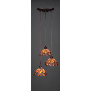 Europa Dark Granite Three-Light Pendant with Seven-Inch Amber Dragonfly Tiffany Glass