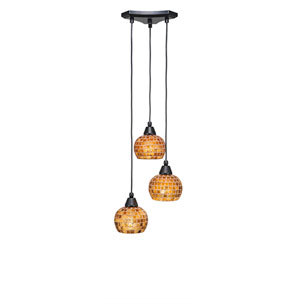 Europa Matte Black Three-Light Pendant with Copper Mosaic Glass