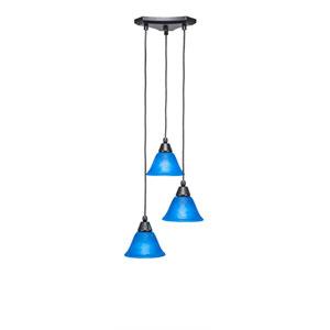 Europa Matte Black Three-Light Pendant with Blue Italian Glass