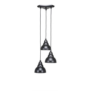 Europa Matte Black Three-Light Pendant with Matte Black Double Bubble Metal Shade