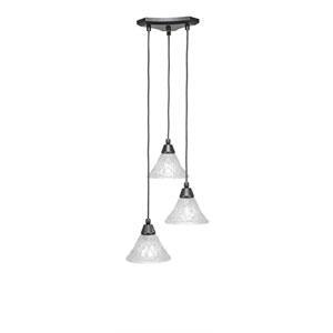 Europa Matte Black Three-Light Pendant with Italian Bubble Glass