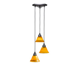Europa Matte Black Three-Light Pendant with Firre Saturn Glass