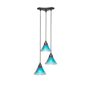 Europa Matte Black Three-Light Pendant with Teal Crystal Glass