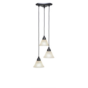 Europa Matte Black Three-Light Pendant with Amber Marble Glass