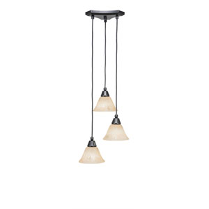 Europa Matte Black Three-Light Pendant with Italian Marble Glass