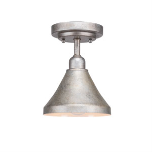 Vintage Silver One-Light 7-Inch Semi-Flush with 7-Inch Aged Silver Metal Shade
