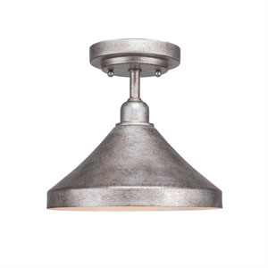 Vintage Aged Silver One-Light 10-Inch Semi-Flush with 10-Inch Aged Silver Metal Shade
