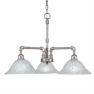Vintage Aged Silver Three-Light 24-Inch Chandelier with Italian Bubble Glass