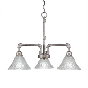 Vintage Aged Silver Three-Light 20-Inch Chandelier with Italian Bubble Glass